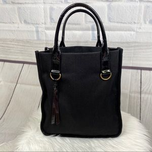 N E I M A N M A R C U S : Black Canvas Tote Bag